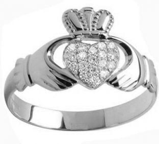 White Gold Mens Gold Diamond .13cts Claddagh Ring