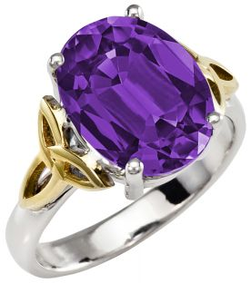 Ladies Amethyst Silver Gold Celtic Trinity Knot Ring - September Birthstone
