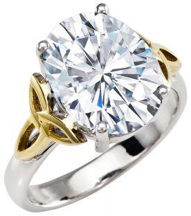Ladies Diamond Silver Celtic Trinity Knot Ring - April Birthstone