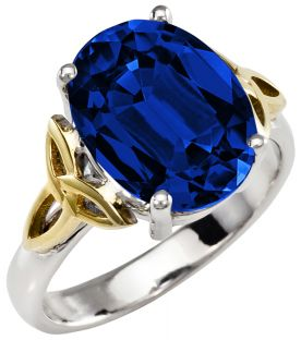 Ladies Sapphire Silver Gold Celtic Trinity Knot Ring - September Birthstone
