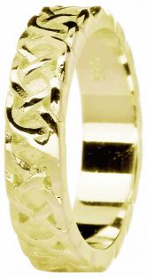 """Ladies 14K Yellow Gold coated Silver Celtic """"Eternity Knot"""" Band Ring"""