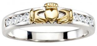 Ladies Diamond Gold Silver Claddagh Ring