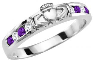 Ladies Amethyst Diamond Silver Claddagh Ring