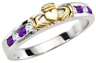 Ladies Amethyst Diamond Gold Silver Claddagh Ring