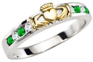 Ladies Emerald Diamond Gold Silver Claddagh Ring