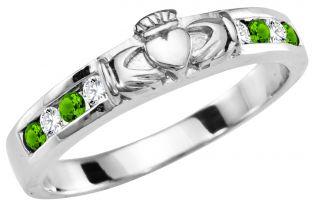 Ladies Peridot Diamond Silver Claddagh Ring