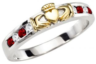Ladies Ruby Diamond Gold Silver Claddagh Ring