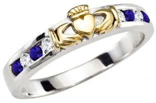 Ladies Sapphire Diamond Gold Silver Claddagh Ring