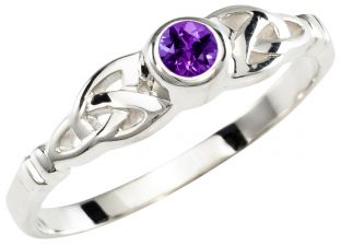 Ladies Amethyst Silver Celtic Trinity knot Ring