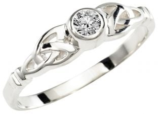 Ladies Diamond Silver Celtic Trinity Knot Ring