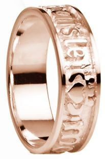 """My Darling"" Rose Gold Claddagh Ladies Band Ring"
