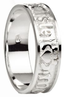"""""""My Darling"""" Ladies White Gold Silver Claddagh Celtic Band Ring"""
