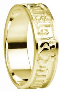 """""""My Darling"""" Ladies Yellow Gold Silver Claddagh Celtic Band Ring"""