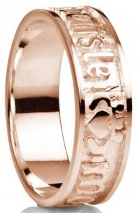 """My Darling"" 14K Rose Gold Silver Claddagh Celtic Mens Band Ring"