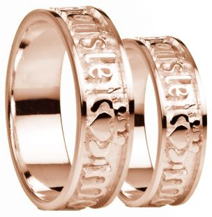 """My Darling"" 14K Rose Gold Silver Claddagh Band Ring Set"