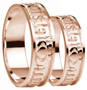 """My Darling"" Rose Gold Claddagh Wedding Band Rings Set"