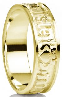 """""""My Darling"""" Gold Claddagh """"My Soul Mate"""" Band Ring"""