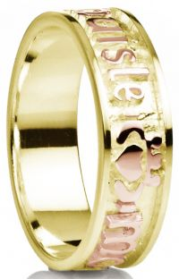 """""""My Darling"""" 14K Two Tone Yellow & Rose Gold Silver Claddagh Celtic Mens Band Ring"""