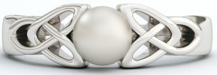 Silver Pearl Celtic Trinity Knot Ring