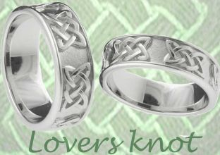 Mens 14K White Gold Silver Celtic Warrior Ring