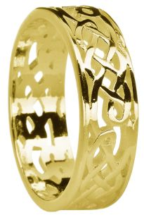 Gold Celtic Ring Unisex Band Ring Ladies Mens