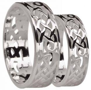 White Gold Celtic Wedding Band Ring Set