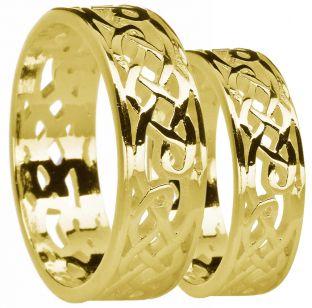 Gold Celtic Wedding Band Ring Set