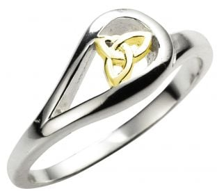 Ladies 14K Gold Silver Celtic Trinity Knot Ring