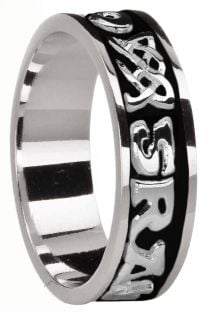 """Ladies 14K White Gold coated Silver """"Love Forever"""" Celtic Band Ring"""