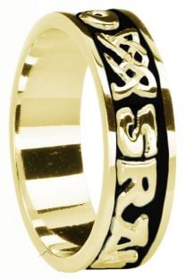 """Ladies 14K Yellow Gold coated Silver """"Love Forever"""" Celtic Band Ring"""