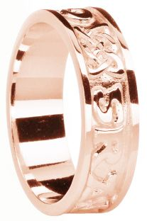 "Ladies Rose Gold Celtic ""Love Forever"" Band Ring"