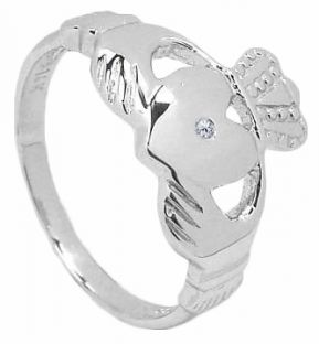 10K/14K/18K White Gold Diamond Irish Celtic Claddagh Wedding Ring