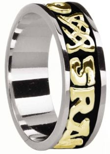 """Mens 14K White & Yellow Gold coated Silver """"Love Forever"""" Celtic Band Ring"""