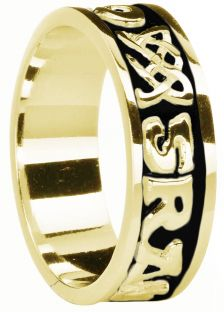 """Mens 14K Yellow Gold coated Silver """"Love Forever"""" Celtic Band Ring"""