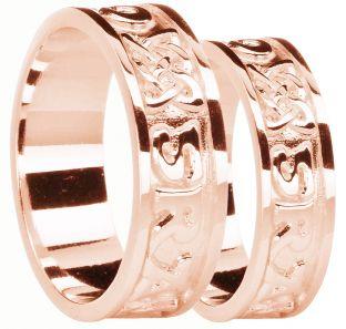 "Rose Gold Celtic ""Love Forever"" Wedding Band Ring Set"