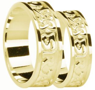 "14K Gold coated Silver ""Love Forever"" Celtic Band Ring Set"