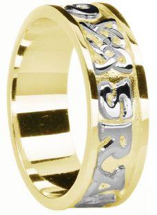 "Mens Yellow & White Gold ""Love Forever"" Celtic Wedding Band Ring"