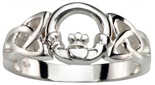 Ladies Silver Claddagh Celtic Ring