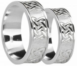 "White Gold Celtic ""Lovers Knot"" Wedding Band Rings Set"