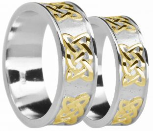 """White & Yellow Gold Celtic """"Lovers Knot"""" Wedding Band Rings Set"""