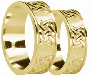 "Gold Celtic ""Lovers Knot"" Wedding Band Rings Set"