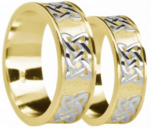 """Yellow & White Gold Celtic """"Lovers Knot"""" Wedding Band Rings Set"""