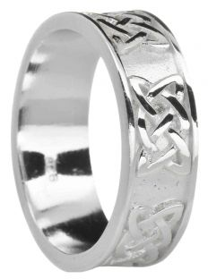 """Mens White Gold Celtic """"Lovers Knot """" Wedding Band Ring"""