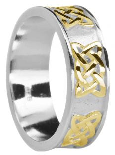 """Ladies 14K White & Yellow Gold coated Silver """"Lovers Knot"""" Celtic Band Ring"""