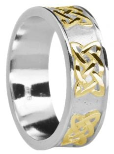 "Ladies White & Yellow Gold ""Lovers Knot"" Celtic Band Ring"