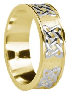 """Ladies Yellow & White Gold """"Lovers Knot"""" Celtic Band Ring"""