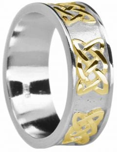 """Mens 14K White & Yellow Gold coated Silver """"Lovers Knot"""" Celtic Wedding Band Ring"""