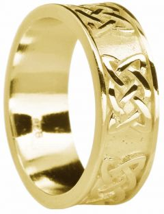"""Mens Gold Celtic """"Lovers Knot """" Wedding Band Ring"""