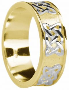 """Mens Yellow & White Gold Celtic """"Lovers Knot """" Wedding Band Ring"""