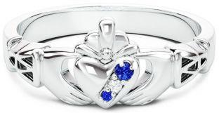 Ladies Sapphire Diamond Silver Claddagh Ring